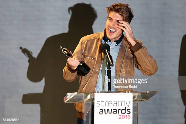 Joey Graceffa accepts a Streamy Award onstage at the official Streamy Awards nominee reception at YouTube Space LA on October 1 2016 in Los Angeles...