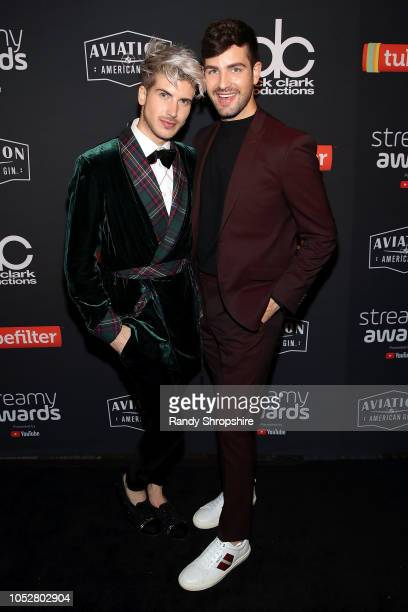 Joey Graceffa and Daniel Preda attend the official 2018 Streamys After Party at SkyBar at the Mondrian Los Angeles on October 22 2018 in West...