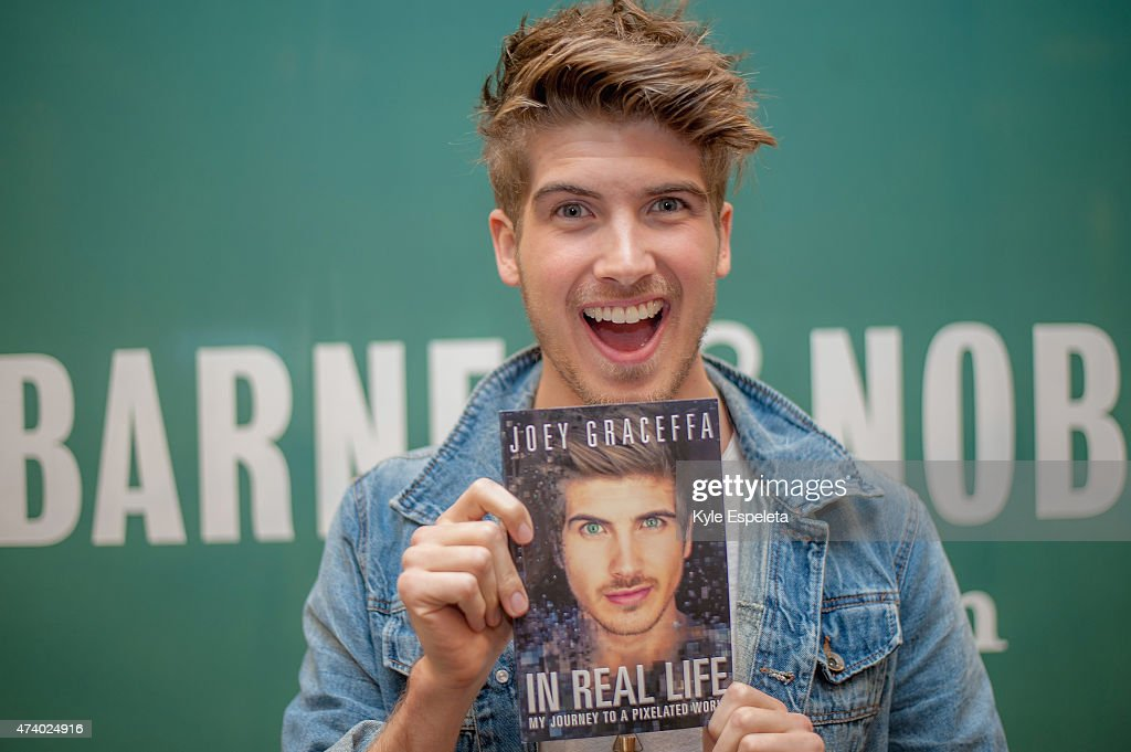 Joey Graceffa greets fans and signs copies of his book 'In Real Life' at Barnes & Noble bookstore at The Grove on May 19, 2015 in Los Angeles, California.