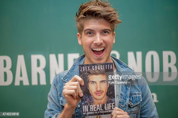 Joey Graceffa greets fans and signs copies of his book In Real Life at Barnes Noble bookstore at The Grove on May 19 2015 in Los Angeles California