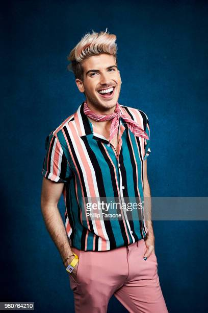 Joey Graceffa poses for a portrait at the Getty Images Portrait Studio at the 9th Annual VidCon US at Anaheim Convention Center on June 21 2018 in...