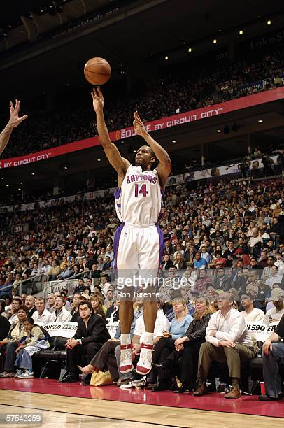 Joey Graham of the Toronto Raptors shoots against the Indiana Pacers at Air Canada Centre on April 17 2006 in Toronto Ontario Canada The Pacers won...