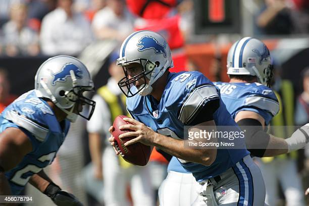 Joey Harrington of the Detroit Lions in action during a game against the Chicago Bears on September 18 2005 at Soldier Field in Chicago Illinois