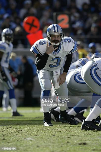 Joey Harrington of the Detroit Lions in action during a game against the Carolina Panthers on December 21 2003 at Erickson Stadium in Charlotte North...