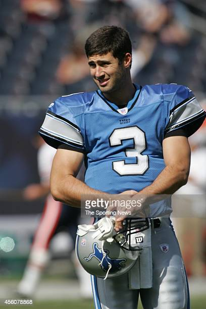 Joey Harrington of the Detroit Lions looks on during warmups before a game against the Chicago Bears on September 18 2005 at Soldier Field in Chicago...