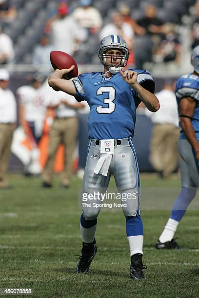 Joey Harrington of the Detroit Lions participates in warmups before a game against the Chicago Bears on September 18 2005 at Soldier Field in Chicago...