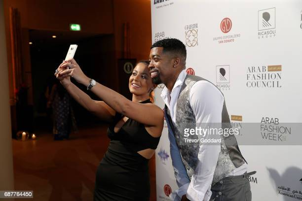 Joey Harris and Sherine Abou Zeid take a selfie at the Arab Fashion Week Ready Couture Resort 2018 Gala Dinner on May 202017 at Armani Hotel in Dubai...