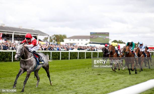 Joey Haynes riding Spring Loaded win The William Hill Portland Handicap Stakes at Doncaster racecourse on September 16 2017 in Doncaster United...