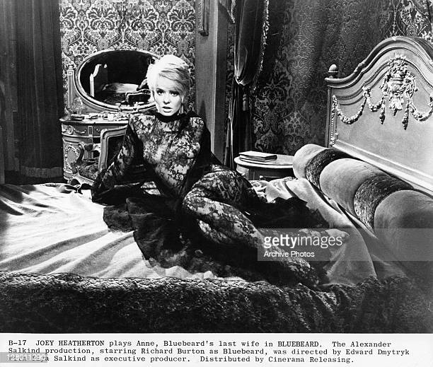 Joey Heatherton laying on bed in a scene from the film 'Bluebeard' 1972