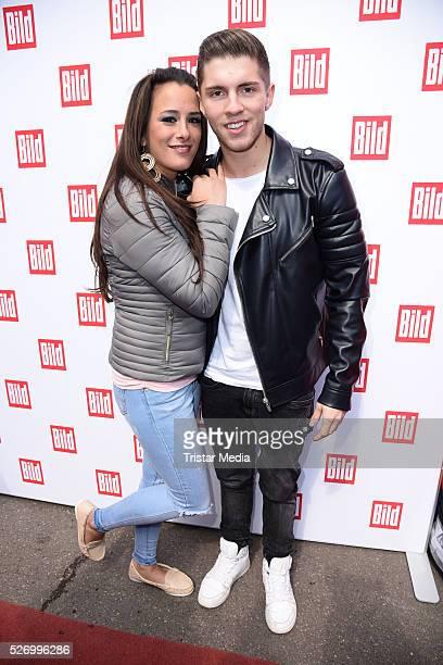 Joey Heindle and his girlfriend Justine Dippl attend the 'BILD Renntag' At Trabrennbahn Gelsenkirchen on Mai 01, 2016 in Gelsenjirchen, Germany.