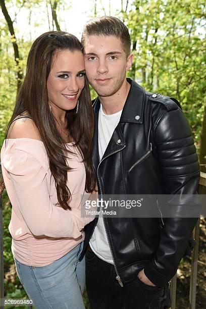 Joey Heindle and his girlfriend Justine Dippl attend the IVIP Area - 'BILD Renntag' At Trabrennbahn Gelsenkirchen on Mi 01, 2016 in Gelsenjirchen,...
