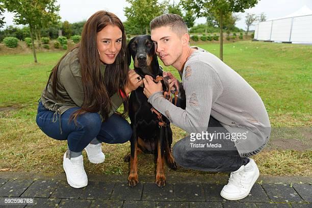 Joey Heindle and his girlfriend Justine Dippl attend the Kinderhospiz Charity Open Air at Helvetiaparc on August 20, 2016 in Gross-Gerau, Germany.