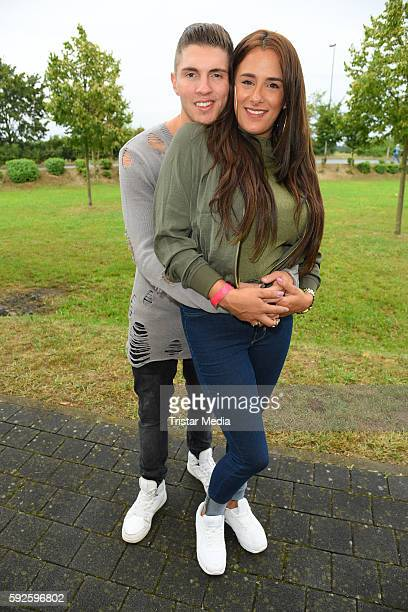 Joey Heindle and his girlfriend Justine Dippl attend the Kinderhospiz Charity Open Air at Helvetiaparc on August 20 2016 in GrossGerau Germany