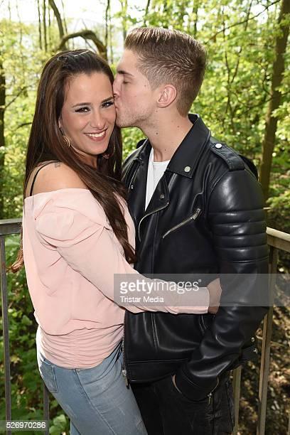 Joey Heindle and his girlfriend Justine Dippl attend the VIP Area 'BILD Renntag' At Trabrennbahn Gelsenkirchen on Mai 01 2016 in Gelsenjirchen Germany