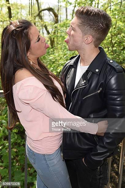 Joey Heindle and his girlfriend Justine Dippl attend the VIP Area - 'BILD Renntag' At Trabrennbahn Gelsenkirchen on Mai 01, 2016 in Gelsenjirchen,...