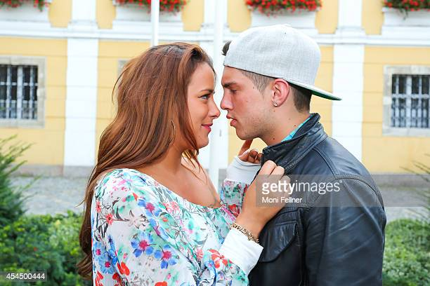 Joey Heindle and his girlfriend Justine Dippl pose during a photo session at the Stockerauer Stadtfest on August 30 2014 in Stockerau Austria