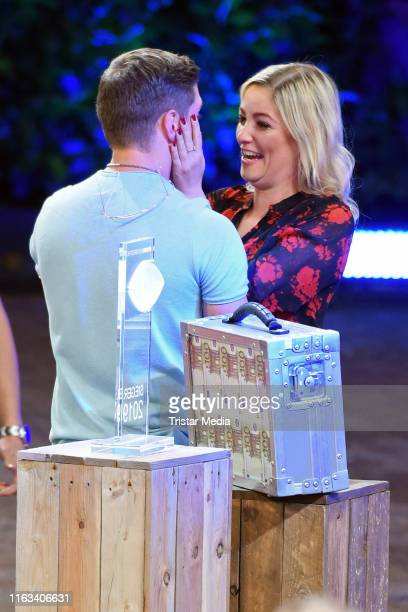 Joey Heindle and his girlfriend Ramona Elsener during the Promi Big Brother final at MMC Studios on August 23 2019 in Cologne Germany