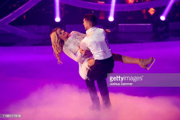 Joey Heindle and Ramona Elsener perform during the finals of the television show Dancing On Ice on December 20 2019 in Cologne Germany