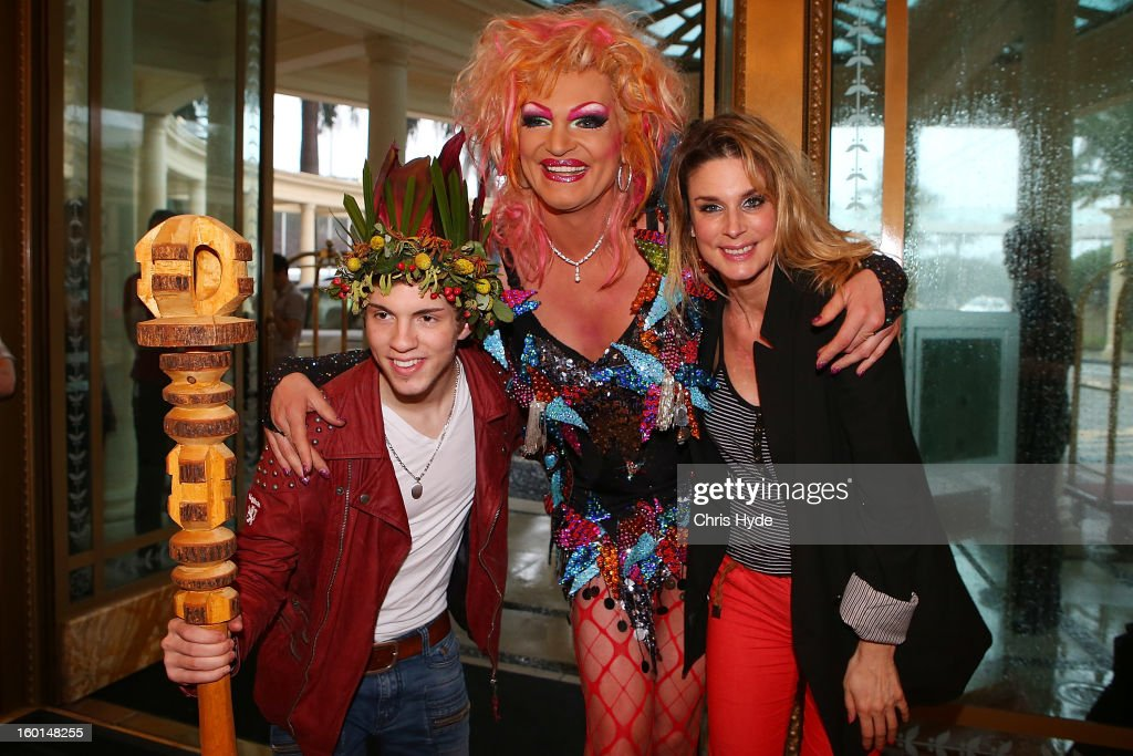 Joey Heindle, Olivia Jones and Claudelle Deckert arrive at the Versace hotel after spending two weeks in the Australian Outback on January 27, 2013 in Gold Coast, Australia. The German celebrities are participants in the 2013- RTL-TV-Show 'Dschungelcamp' - Ich bin ein Star - Holt mich hier raus!.