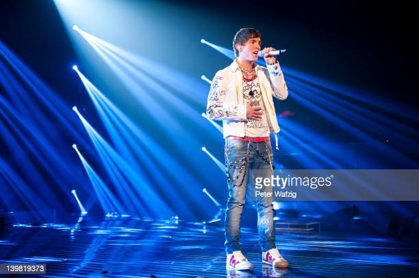 Joey Heindle performs during the 'Deutschland Sucht Den Superstar' Rehearsal on February 25 2012 in Cologne Germany