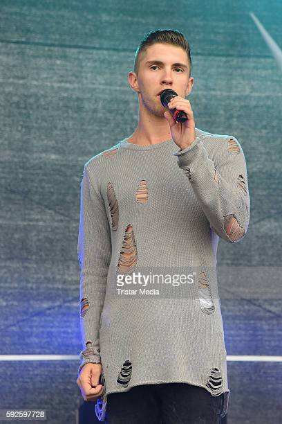 Joey Heindle performs during the Kinderhospiz Charity Open Air at Helvetiaparc on August 20 2016 in GrossGerau Germany