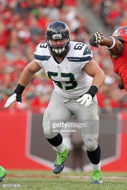 Joey Hunt of the Seahawks blocks on the play during the NFL Game between the Seattle Seahawks and Tampa Bay Buccaneers on November 27 at Raymond...