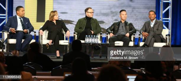 Joey Jackson Nancy Duffy Donnie Wahlberg B D Wong and Hill Harper of the television show HLN speak during the Turner segment of the 2019 Winter...