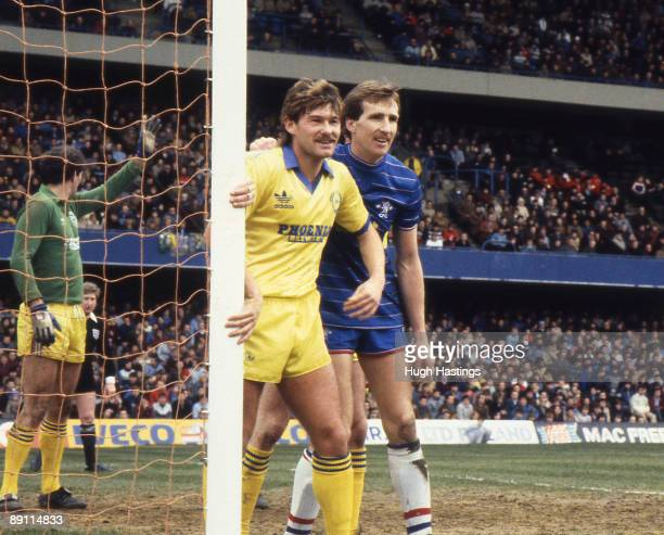 Joey Jones of Chelsea marks former Chelsea player Chris Hutchings during the English Division Two match between Chelsea and Brighton Hove Albion held...