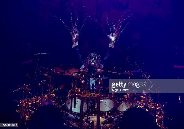 Joey Jordison drummer of American metal band Slipknot performs on stage at the Cardiff International Arena in Cardiff Wales on December 05 2008