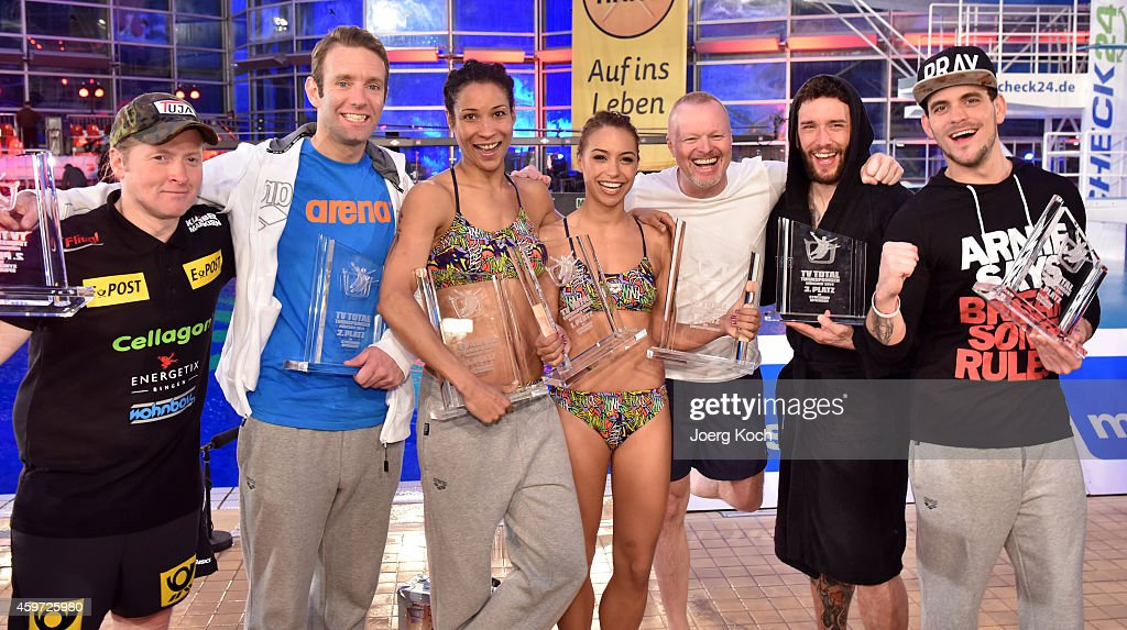 Joey Kelly, Peter Imhoff, Annabelle Mandeng, Miss Ronja, Stefan Rabb, Sascha Pederiva and Marc Barthel attend the TV show 'TV Total Turmspringen' ('TV Total high diving') on November 29, 2014 in Munich, Germany.
