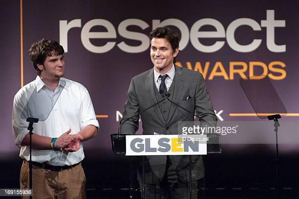 Joey Kemmerling looks on as Matt Bomer speaks on stage during the 2013 GLSEN Respect Awards at Gotham Hall on May 20 2013 in New York City