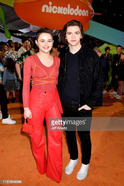 Joey King and Joel Courtney attend Nickelodeon's 2019 Kids' Choice Awards at Galen Center on March 23 2019 in Los Angeles California