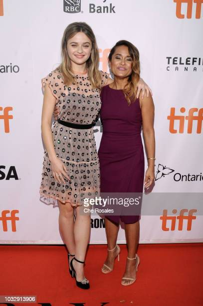 LR_ Joey King and Veena Sud attend 'The Lie' premiere at Roy Thomson Hall on September 13 2018 in Toronto Canada
