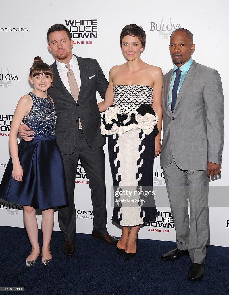 Joey King, Channing Tatum, Maggie Gyllenhaal and Jamie Foxx attend 'White House Down' New York Premiere at Ziegfeld Theater on June 25, 2013 in New York City.