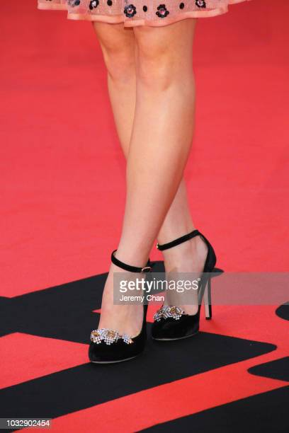 Joey King fashion detail attends the The Lie premiere during 2018 Toronto International Film Festival at Roy Thomson Hall on September 13 2018 in...
