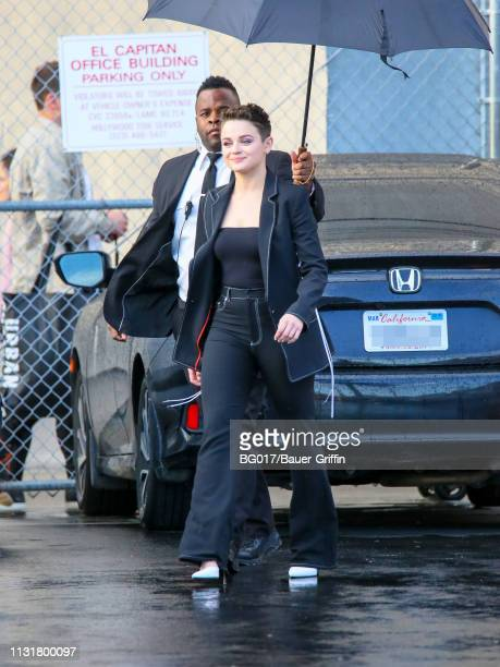 Joey King is seen arriving at 'Jimmy Kimmel Live' on March 20 2019 in Los Angeles California