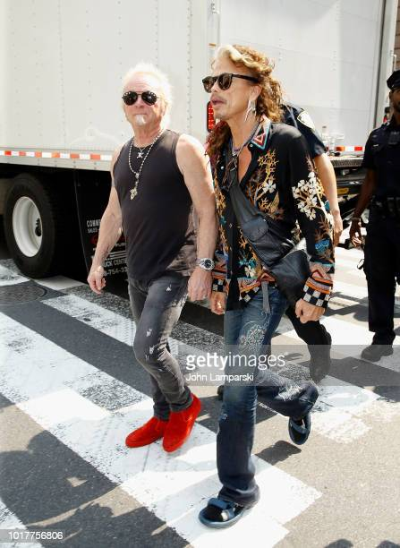 Joey Kramer and Steven Tyler of Aerosmith depart for the Tonight Show appearance on August 16 2018 in New York City