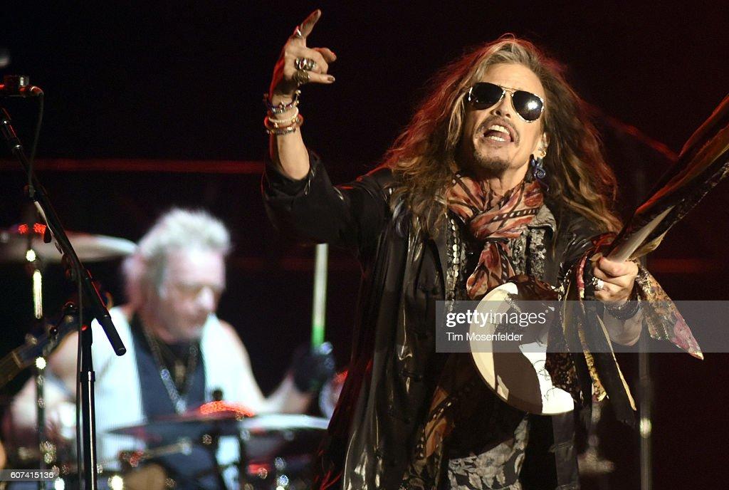 Joey Kramer (L) and Steven Tyler of Aerosmith perform during the KAABOO Del Mar music festival on September 17, 2016 in Del Mar, California.