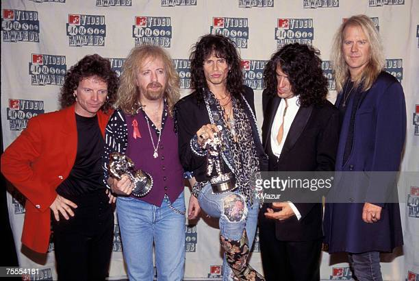 Joey Kramer Brad Whitford Steven Tyler Joe Perry and Tom Hamilton of Aerosmith