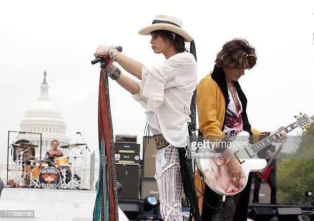 Joey Kramer Steven Tyler and Joe Perry of Aerosmith