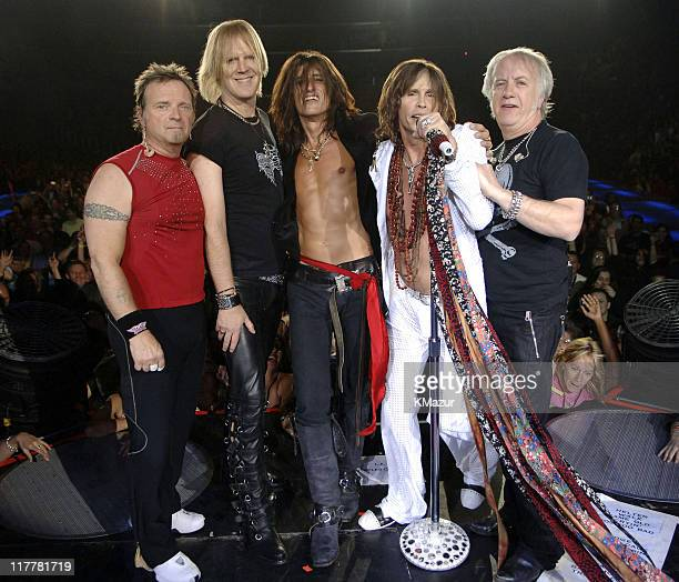 Joey Kramer Tom Hamilton Joe Perry Steven Tyler and Brad Whitford of Aerosmith