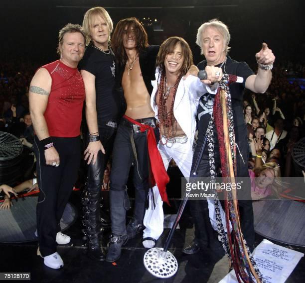 Joey Kramer Tom Hamilton Joe Perry Steven Tyler and Brad Whitford of Aerosmith