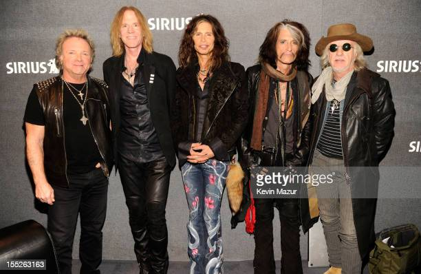 Joey Kramer Tom Hamilton Steven Tyler Joe Perry and Brad Whitford backstage at SiriusXM's Town Hall With Aerosmith live on Classic Vinyl at SiriusXM...