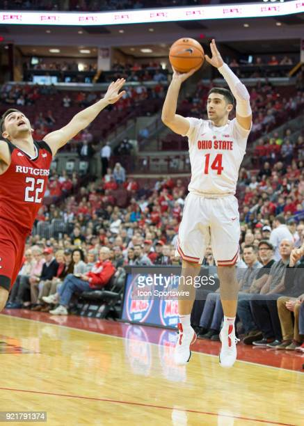Joey Lane of the Ohio State Buckeyes shoots three point basket during the game between the Ohio State Buckeyes and the Rutgers Scarlet Knights at the...