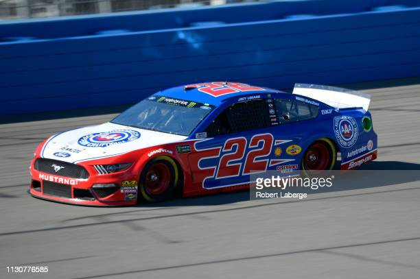 Joey Logano driver of the AAA Southern California Ford practices for the Monster Energy NASCAR Cup Series Auto Club 400 at Auto Club Speedway on...