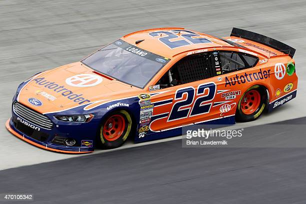 Joey Logano driver of the Autotrader Ford practices for the NASCAR Sprint Cup Series Food City 500 at Bristol Motor Speedway on April 17 2015 in...