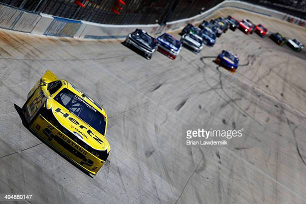 Joey Logano driver of the Hertz Ford leads the field during the NASCAR Nationwide Series Buckle Up 200 Presented By Click It Or Ticket at Dover...
