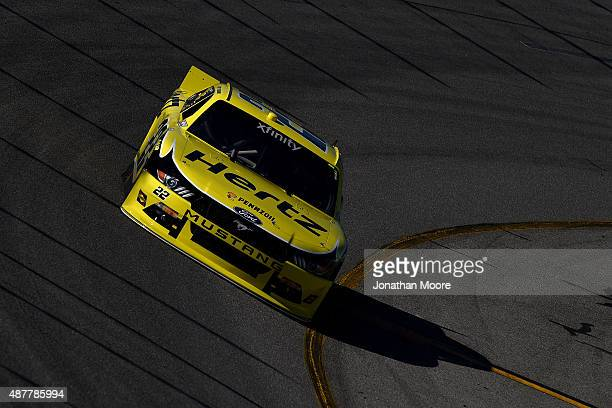 Joey Logano driver of the Hertz Ford qualifies for the NASCAR XFINITY Series Virginia529 College Savings 250 at Richmond International Raceway on...