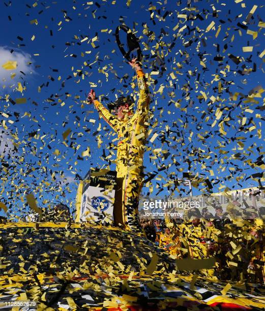 Joey Logano, driver of the Pennzoil Ford, celebrates in Victory Lane after winning the Monster Energy NASCAR Cup Series Pennzoil Oil 400 at Las Vegas...
