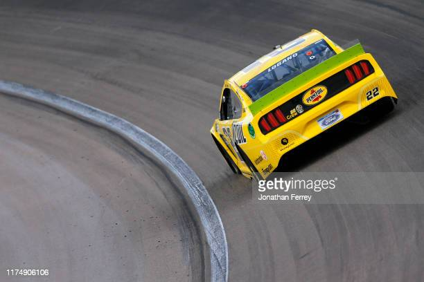 Joey Logano driver of the Pennzoil Ford races during the Monster Energy NASCAR Cup Series South Point 400 at Las Vegas Motor Speedway on September 15...
